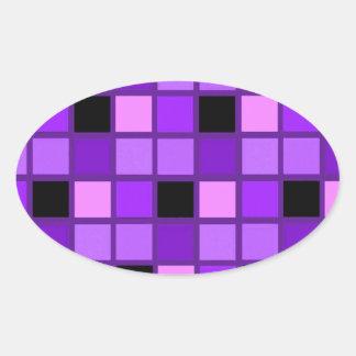 Winterberry Lavender Purple Harlequin Designer Oval Sticker