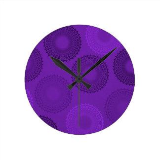 Winterberry Plum Violet Lace Doily Round Clock