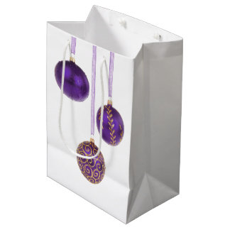 Winterberry Purple Christmas Ornaments Medium Gift Bag