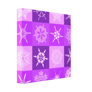 Winterberry Purple Snowflake Collection Canvas Prints