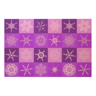 Winterberry Purple Snowflake Collection Wood Canvases