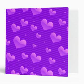 Winterberry Purple Valentine Hearts 3 Ring Binder