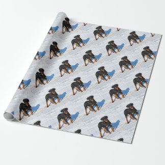 Winterland Rottweiler Wrapping Paper