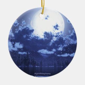Wintermoon/ornamento circumpolar adorno redondo de cerámica