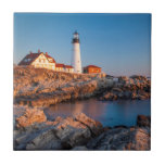 Winters dawn at Portland Head Lighthouse Ceramic Tile