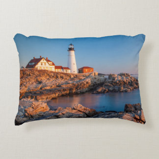Winters dawn at Portland Head Lighthouse Decorative Pillow
