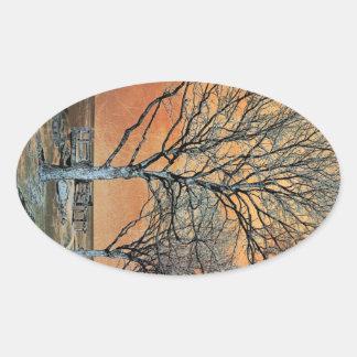 Winter's Dawn Oval Sticker
