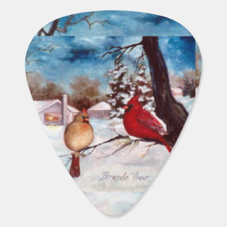 Winter's Serenity Cardinal Guitar Pick