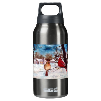 Winter's Serenity Cardinal Insulated Water Bottle