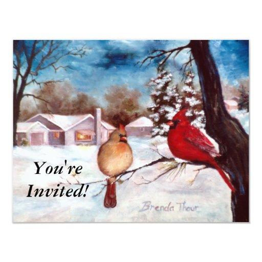 Winters Serenity Cardinal Invitation