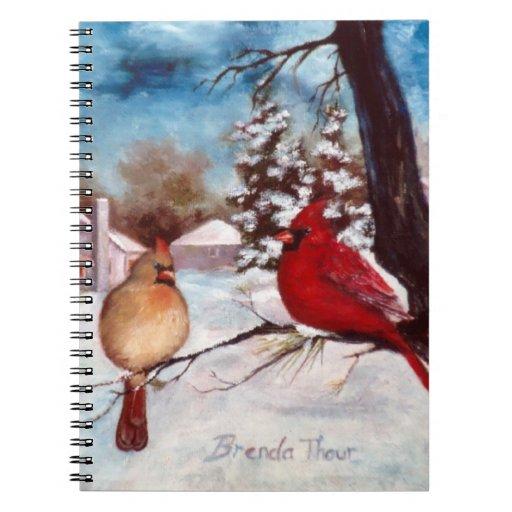 Winter's Serenity Cardinal Notebook