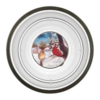 Winter's Serenity Cardinal Pet Bowl