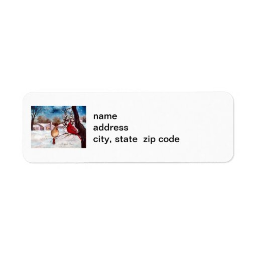 Winters Serenity Cardinal Postage Label