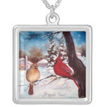 Winters Serenity Square Pendant Necklace