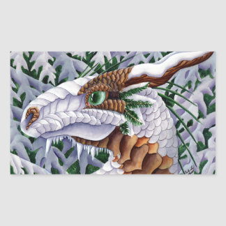 Winters Silent Steps Dragon Rectangular Sticker