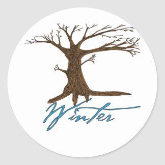 Winter's tree classic round sticker