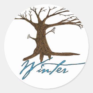 Winter's tree classic round sticker