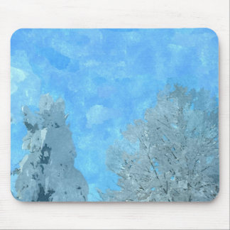 Winterscape in watercolors mouse pad