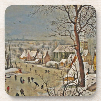 Winterscape  on a Pond with Birds Coaster