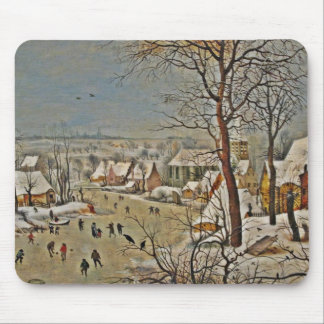 Winterscape  on a Pond with Birds Mouse Pad