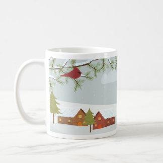 Wintertime Scene with Red Bird Mug