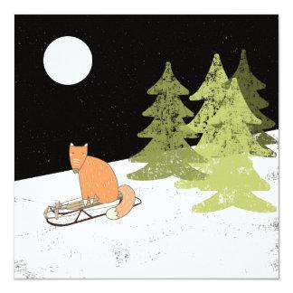 Wintertime- Sledding  Fox - Illustration Card