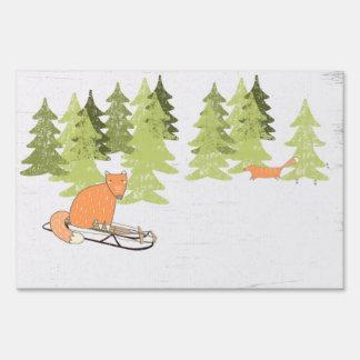Wintertime- Sledding  Fox - Illustration Lawn Sign