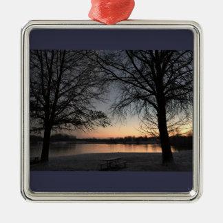 Wintertime Sunset Core Creek Park Metal Ornament