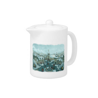 wintertown holiday teapot