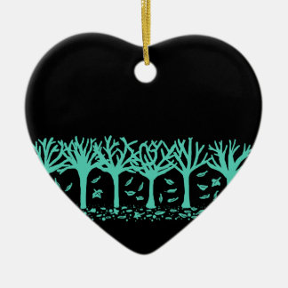 WIntery Autumn silhouette heart ornament