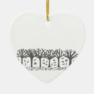 Wintery Autumn silhouette heartornament decoration