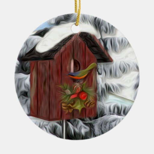 Birdhouse Christmas Tree Ornaments : Wintery birdhouse double sided ceramic round christmas