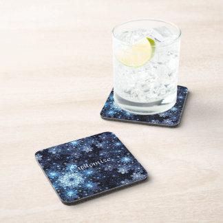 Wintery Blue Snowflake Pattern Coasters