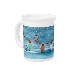 Wintery Christmas Light Drink Pitcher