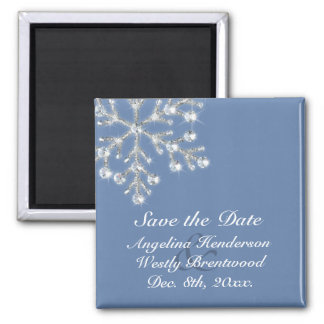 Wintery Crystal Snowflake Save the Date Magnet
