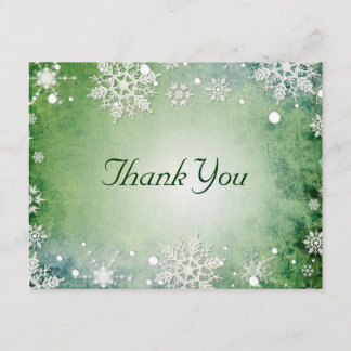 Wintery Green Thank You Card