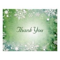 Wintery Green Thank You Card Custom Announcement