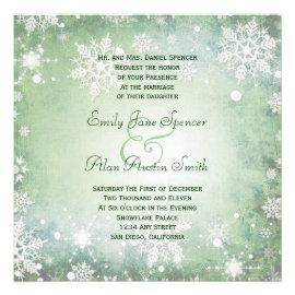 Wintery Green Wedding Invitation