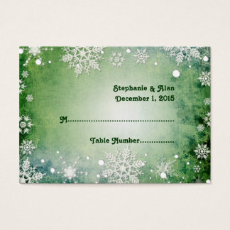 Wintery Green Wedding Place Cards