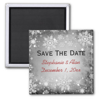 Wintery Grey Save The Date Magnet