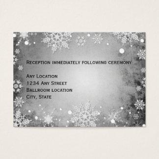 Wintery Grey Wedding Reception Card