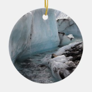 Wintery ice and snow - Glacier River Ceramic Ornament