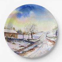 Wintery Lane Watercolor Landscape Painting Paper Plate