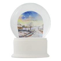 Wintery Lane Watercolor Landscape Painting Snow Globe