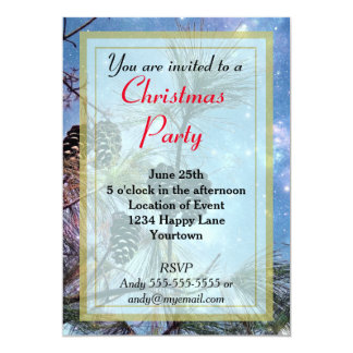 Wintery Pine cones Christmas Party Card