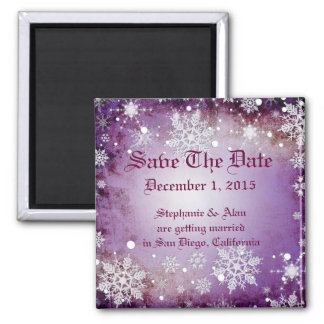 Wintery Purple Save The Date Magnet