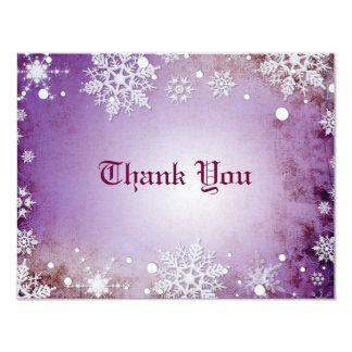 Wintery Purple Thank You Card Invites