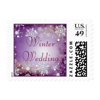 Wintery Purple Winter Wedding Stamp