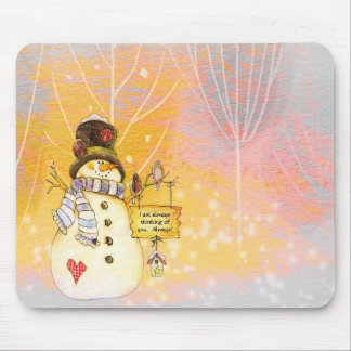 Wintery Snowman Mouse Pad in Pastels - message