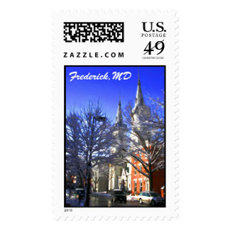 Wintery Spires with Snowy Tree Top Branches Stamp